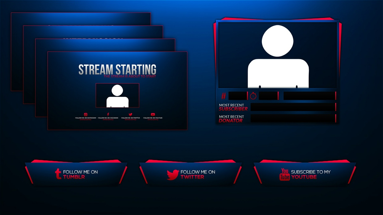 Pink and Blue Twitch Stream Rebrand and Overlay Photoshop Template Pack
