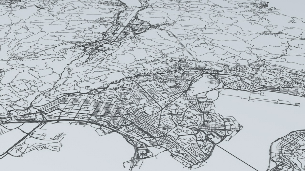 Hong Kong Road Network and Streets Architectural 3D Model