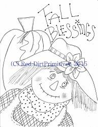 #6 Fall Blessings All line/stitcherys drawing ePattern