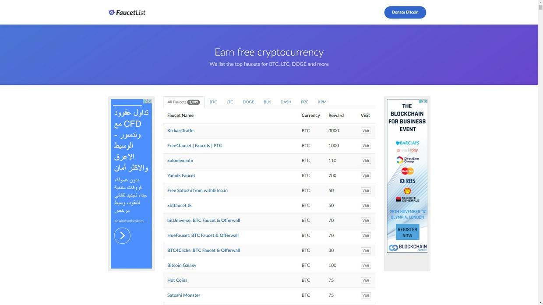Bitcoin Faucet List