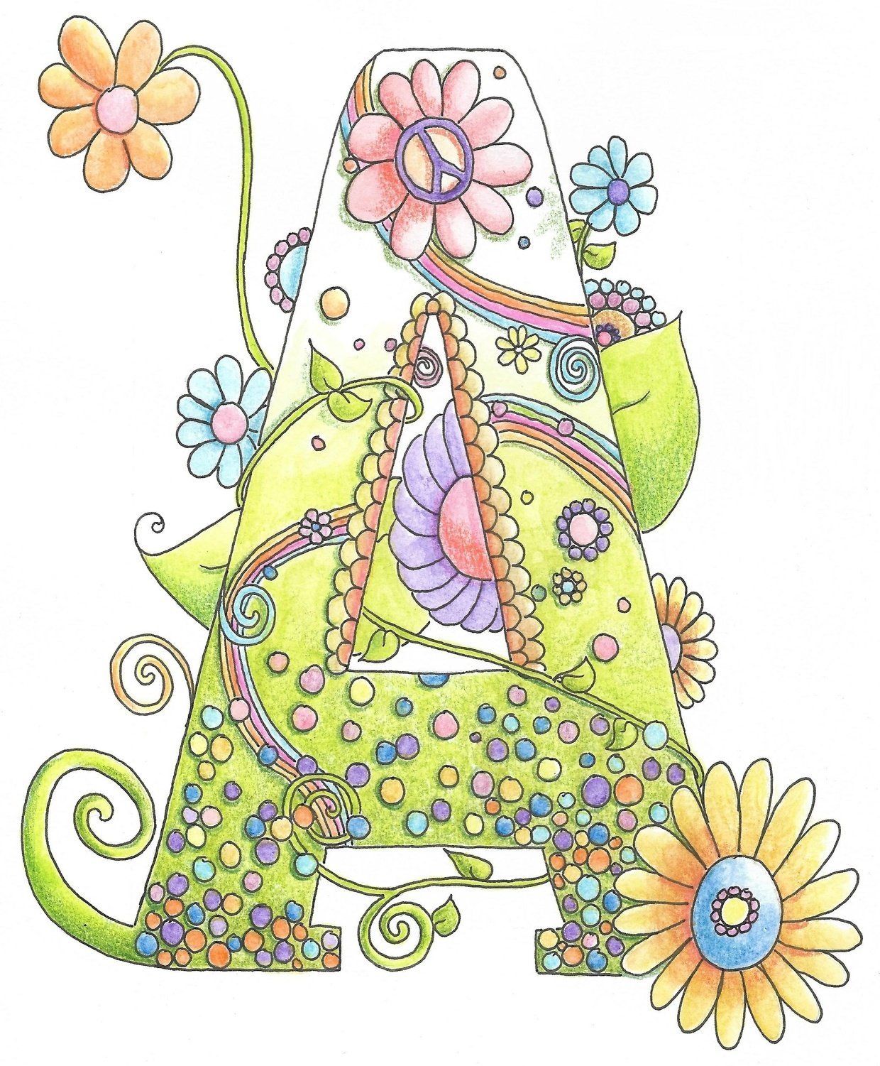 """Letter """"A"""" Hippy Initial Coloring Page"""