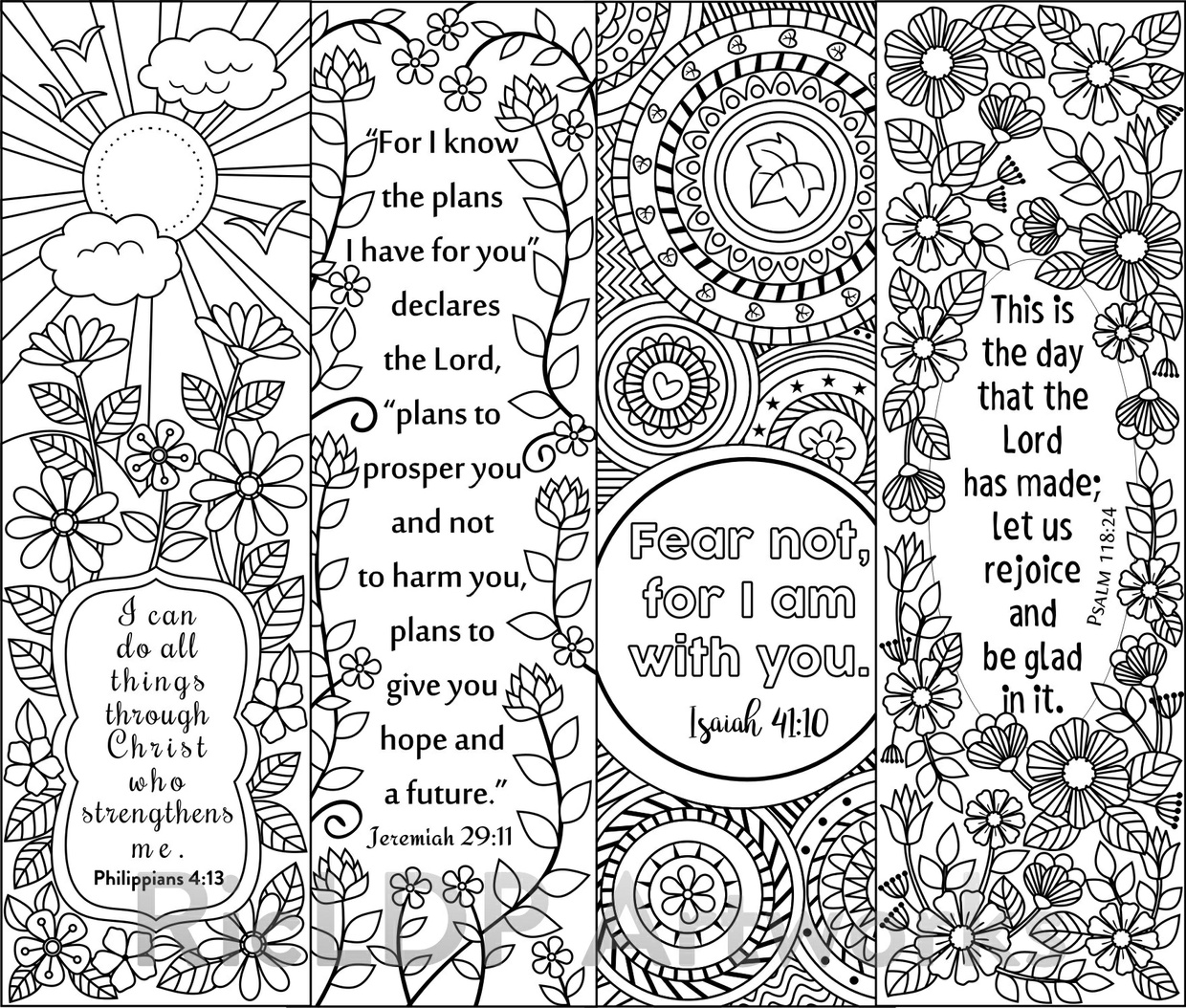8 Bible Verse Coloring Bookmarks RicLDP Artworks Sellfy.com