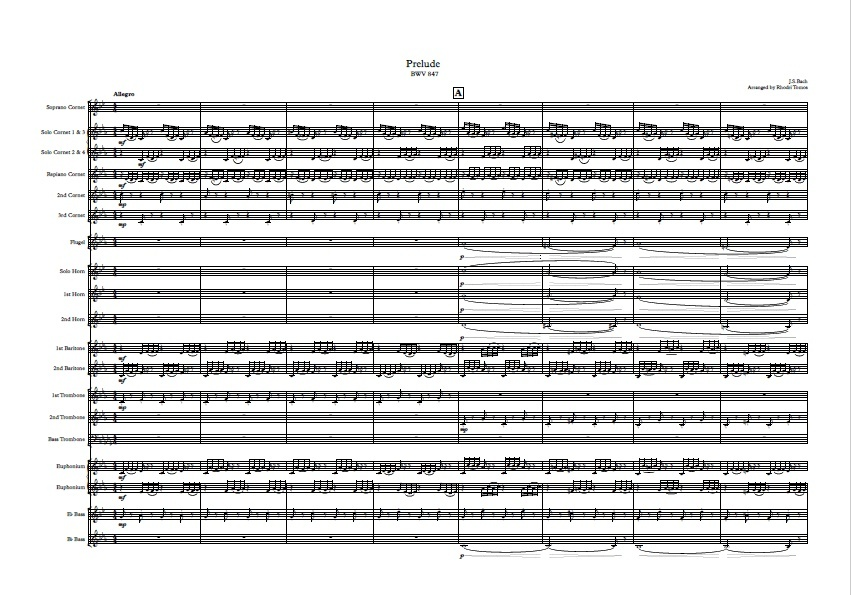 Brass band: Bach BWV847 Prelude & Fugue arrangement.