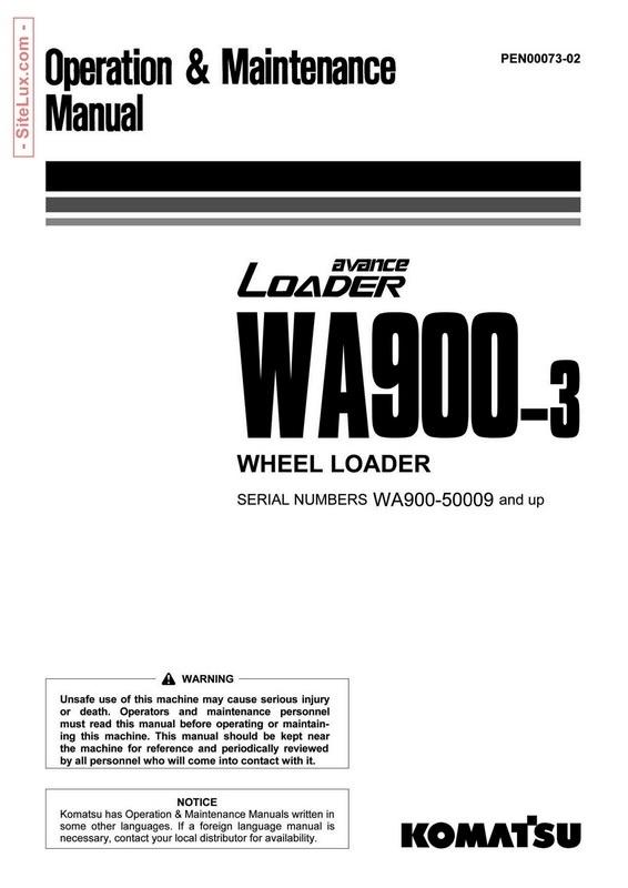 Komatsu WA900-3 avance Wheel Loader Operation & Maintenance Manual - PEN00073-02