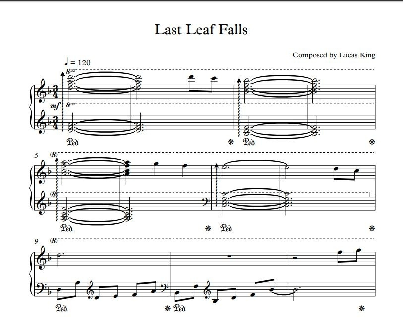 Lucas King - Last Leaf Falls Sheet Music