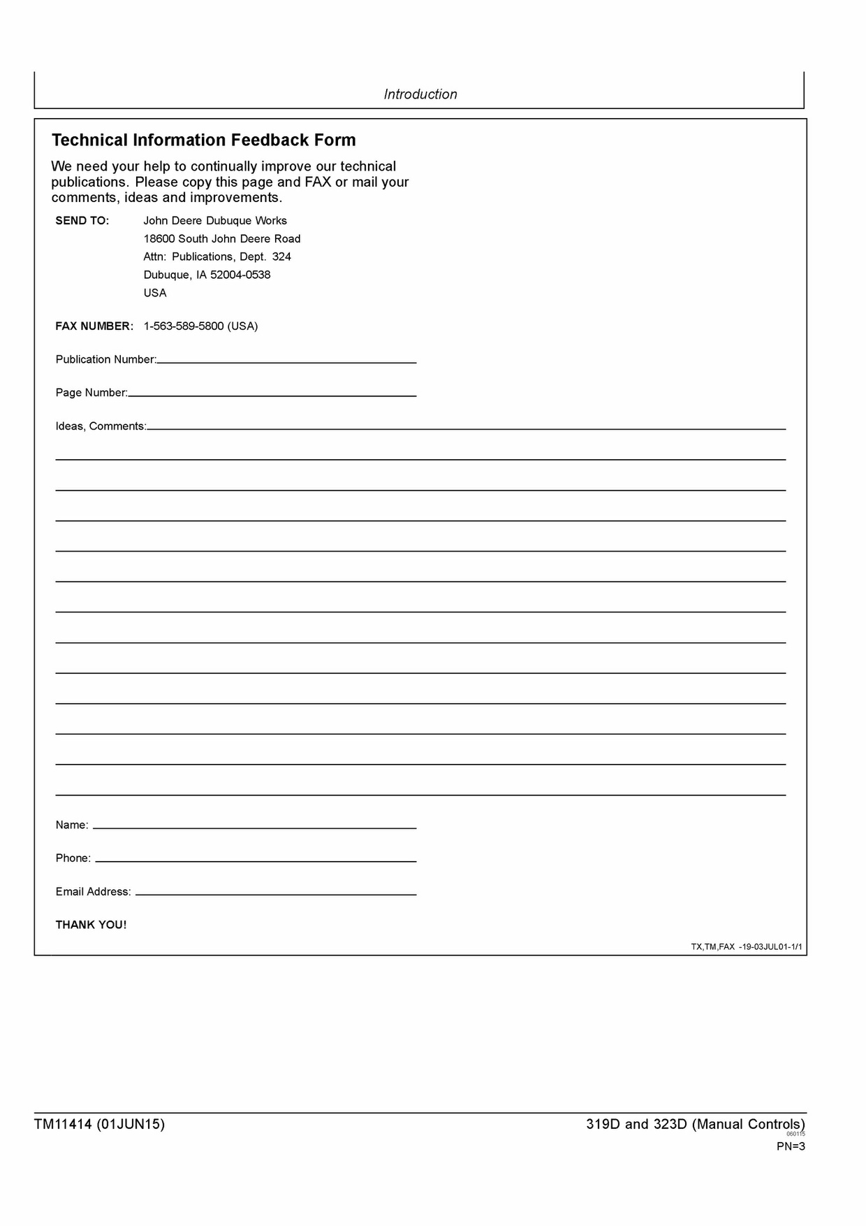 TM11414 JOHN DEERE 319D 323D SKID STEER LOADER (MANUAL CONTROLS) OPERATION AND TEST MANUAL PDF