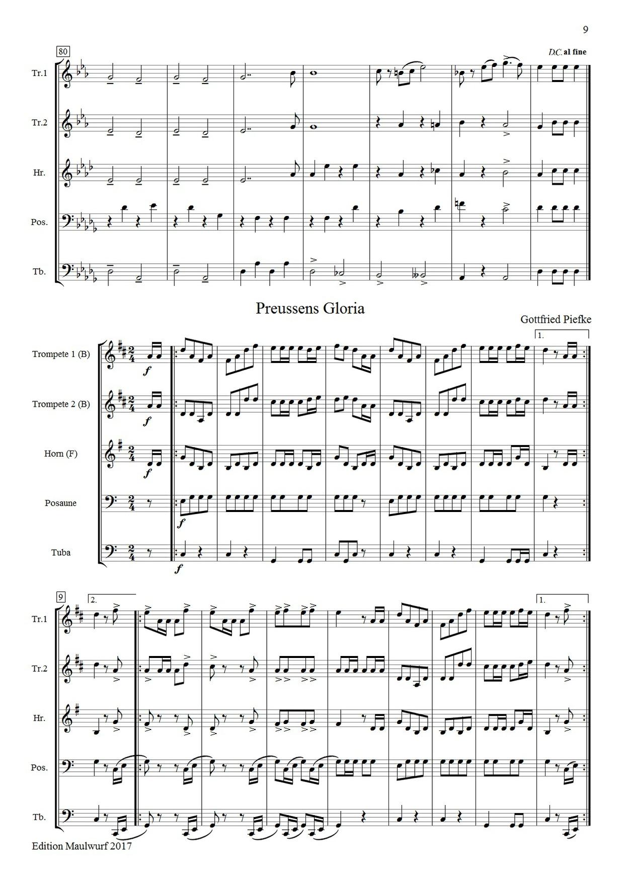 7 Märsche (Blechbläserquintett)