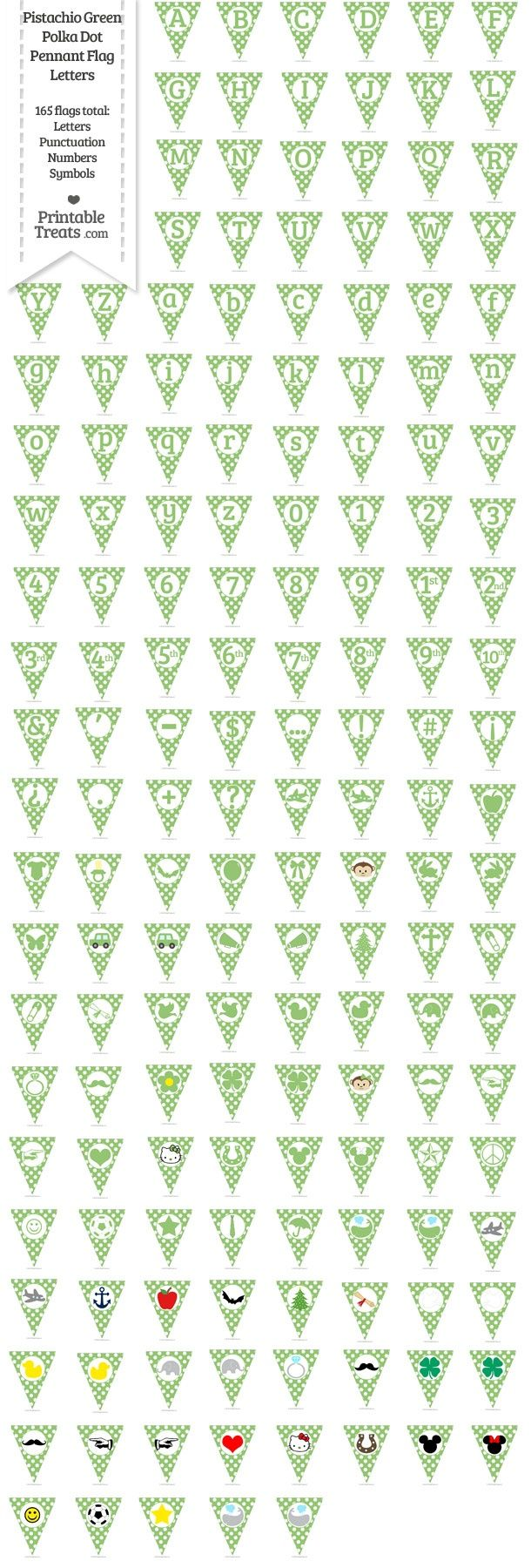 165 Pistachio Green Polka Dot Pennant Flag Letters Password