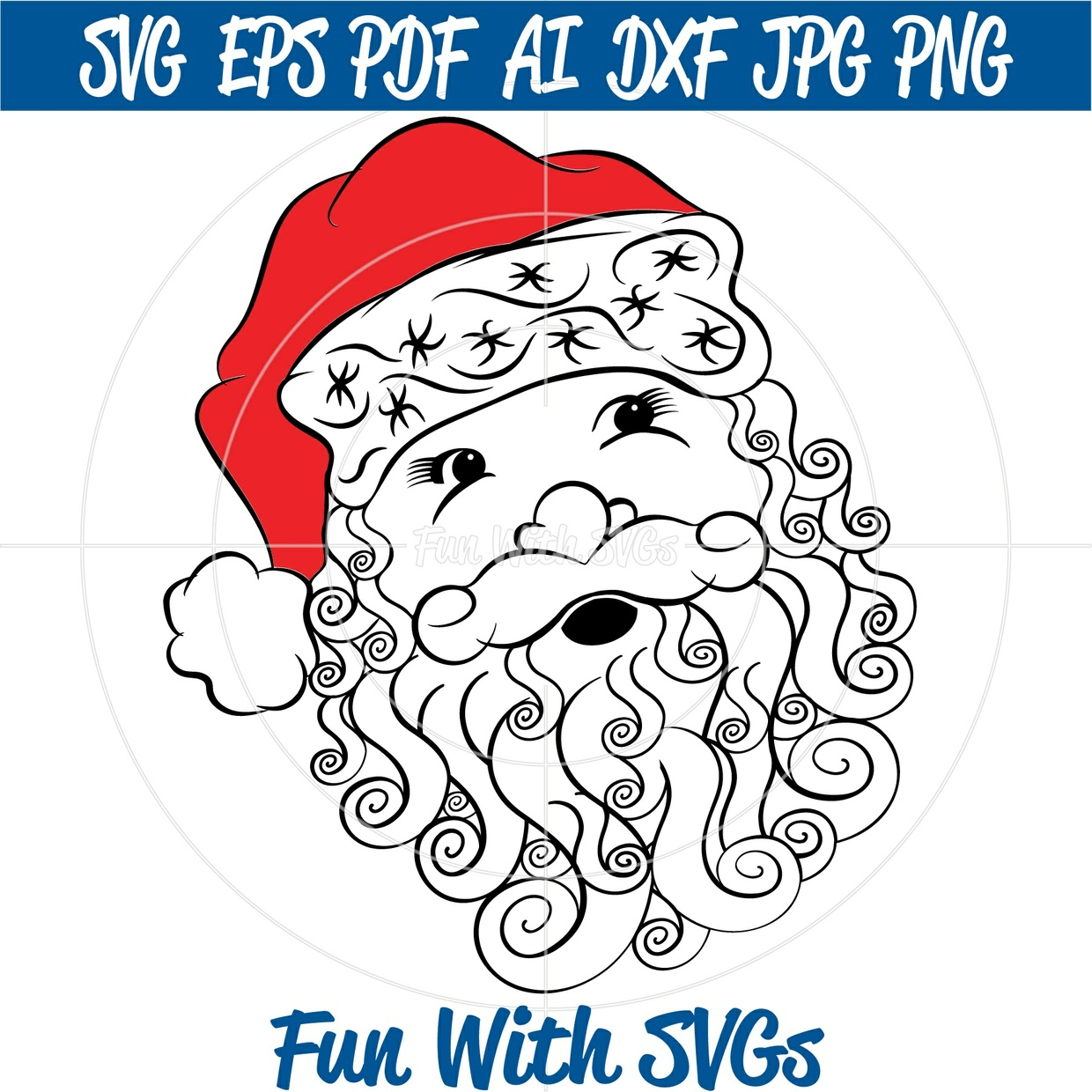 Zentangle Santa SVG File, Christmas Vector Santa, SVG Files, Cricut Files, Silhouette Files