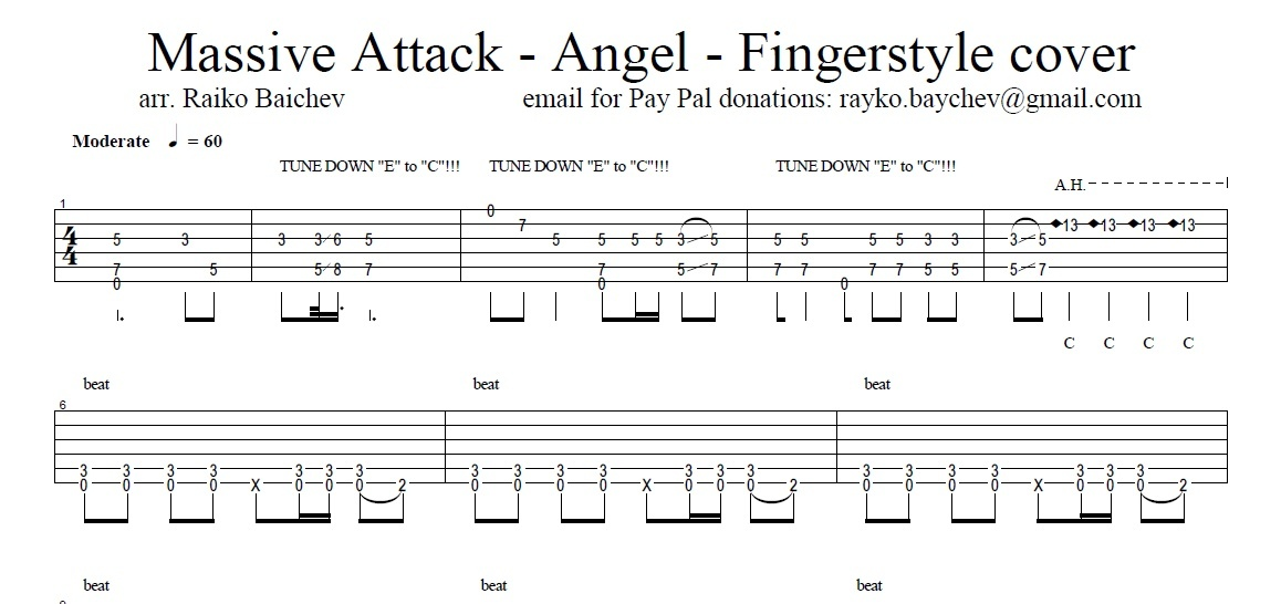 Massive Attack - Angel - Fingerstyle TAB