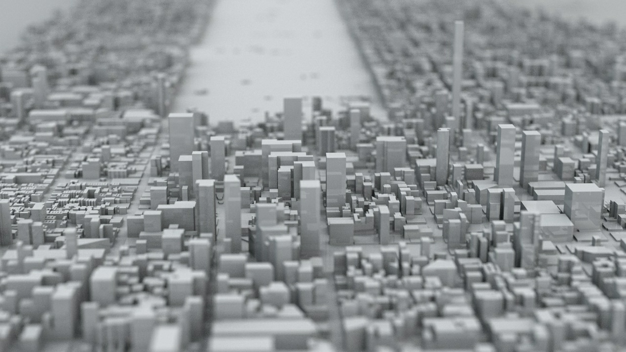 Manhattan Island New York City  Streets and Buildings Architectural 3D Model