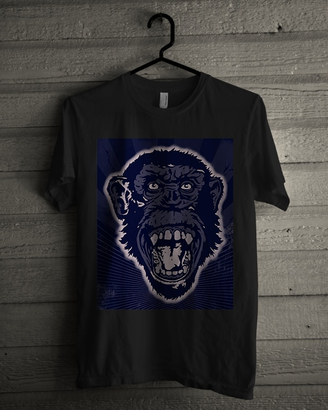 T-shirt Design Image - Monkey Face In Blue