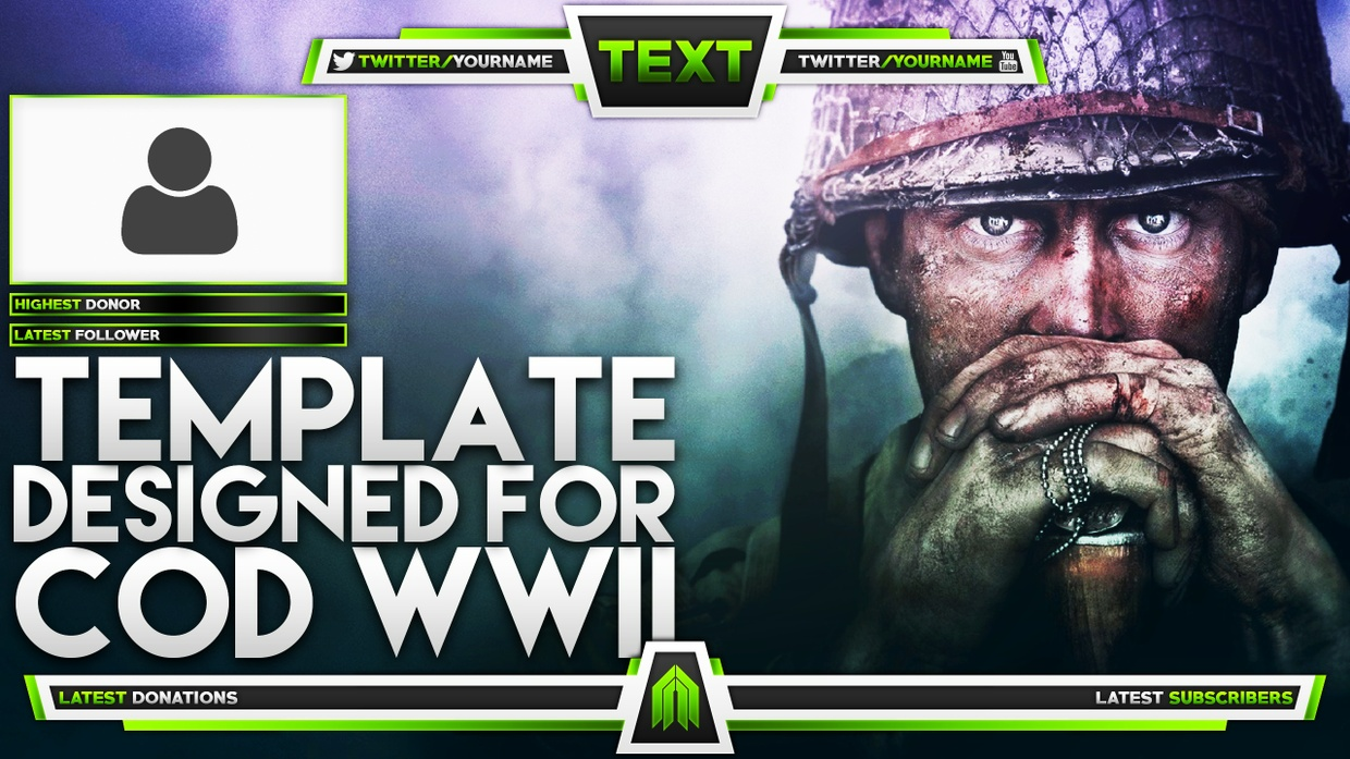 Live Stream Overlay Template Pack - Call of Duty: World War 2 - Photoshop Template - Volume 10
