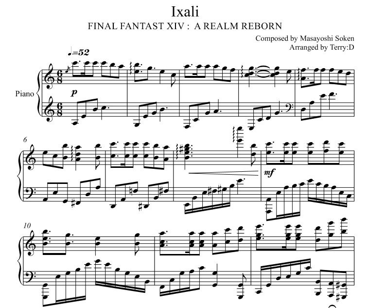 IXALI for piano solo (Arr.by Terry:D) from FFXIV