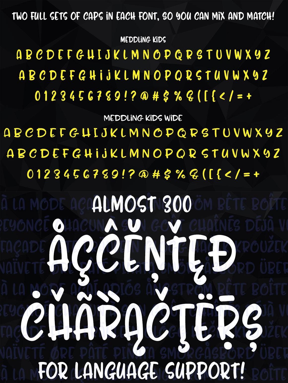 Meddling Kids: an all-caps handwriting font pair!