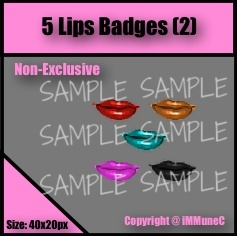 5 Lips Badges Set 2