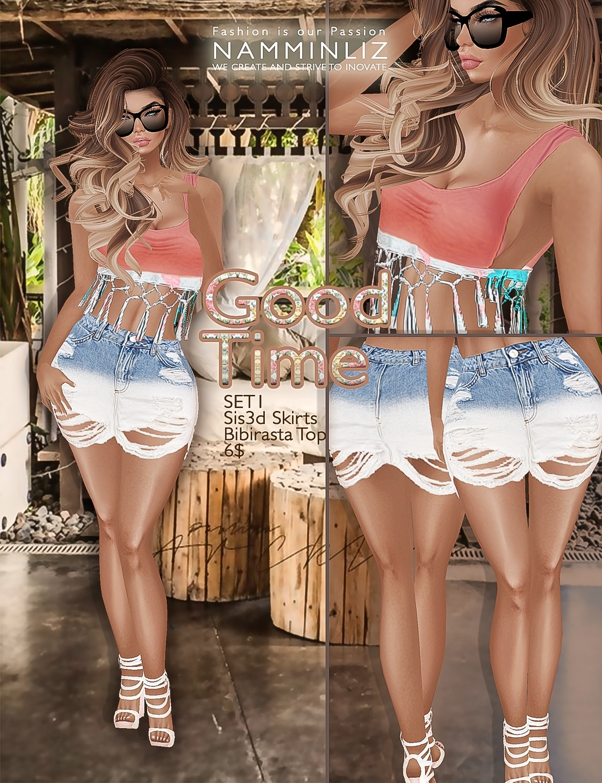 Good time SET1 •Sis3d skirt •Bibirasta top imvu texture PNG