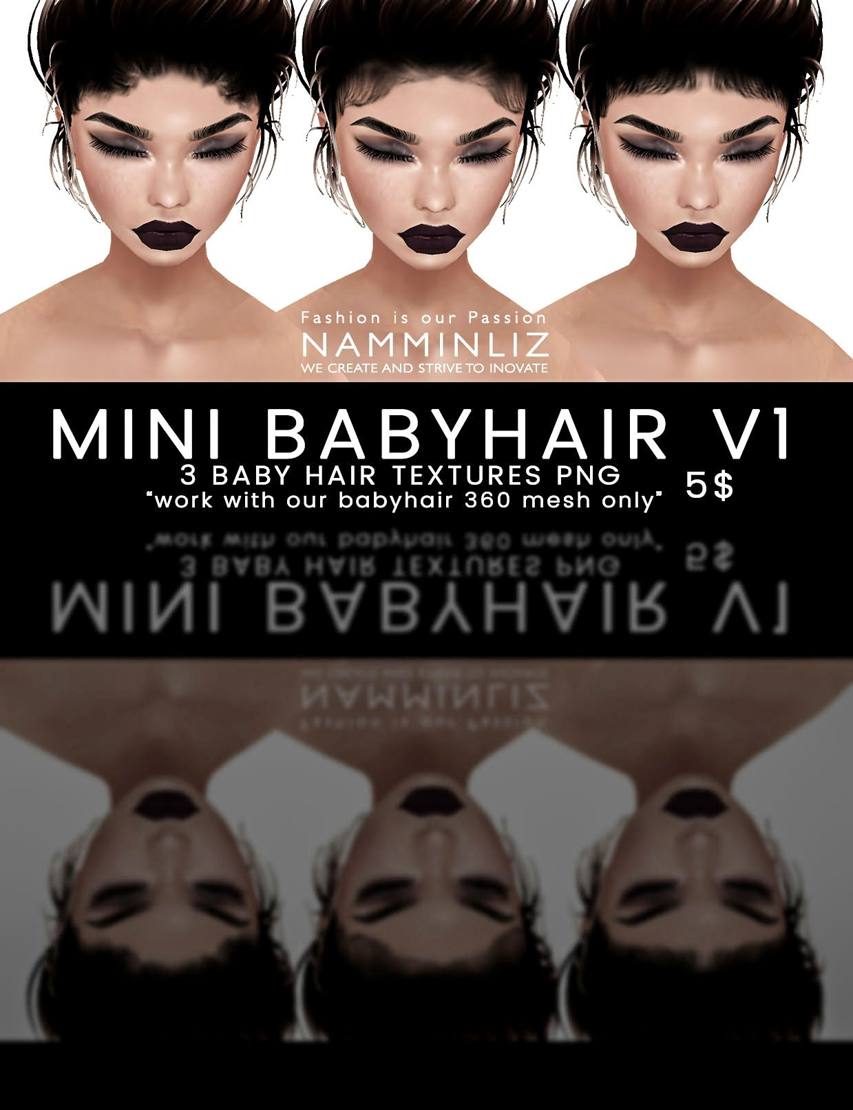 Mini Babyhair V1 ( 3 Textures PNG ) imvu namminliz