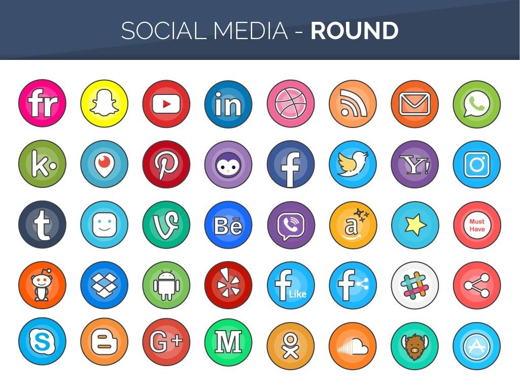 160 Flat Line Color Social Media Buttons