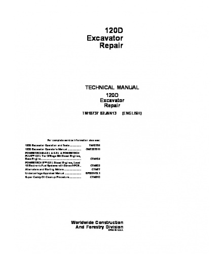 PDF DOWNLOAD JOHN DEERE 120D EXCAVATOR REPAIR SERVICE TECHNICAL MANUAL TM10737