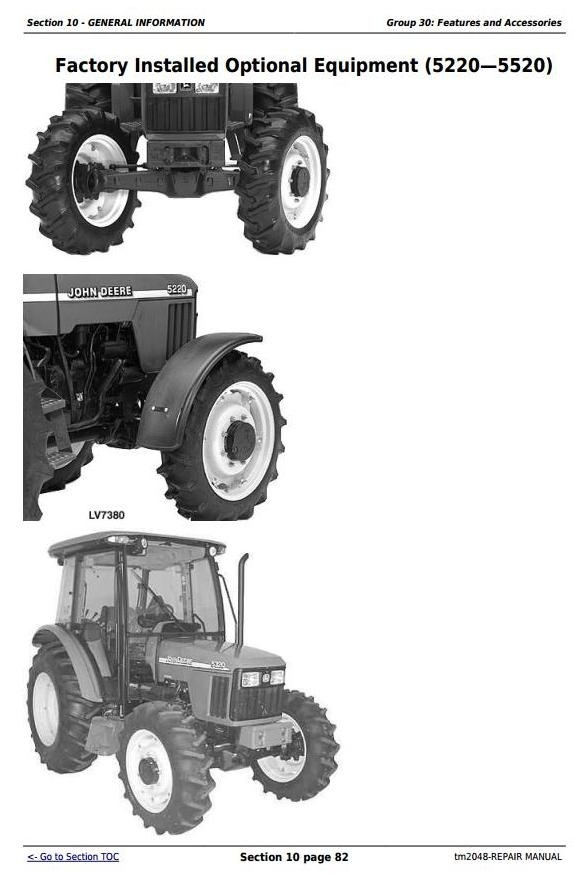 John Deere 5220, 5320, 5420, and 5520 Tractors Technical Repair Service Manual (tm2048)