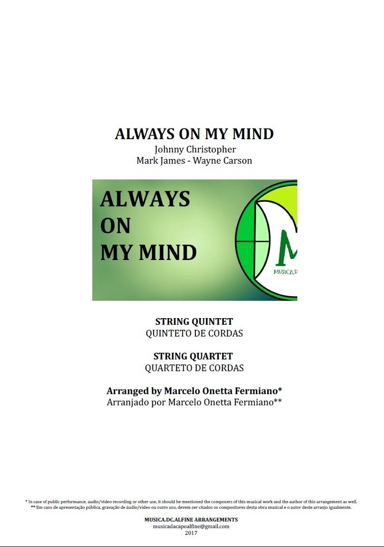 Always on My Mind | Elvis Presley | String Quintet or String Quartet | Score and Parts