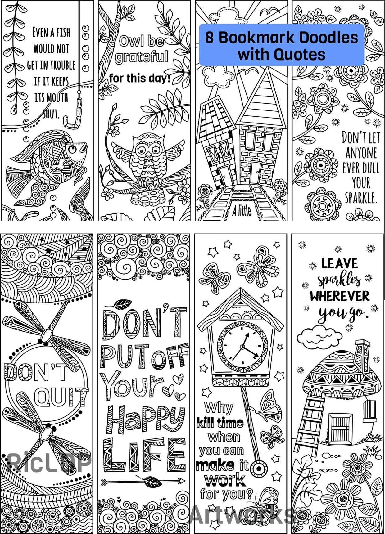 8 coloring bookmark doodles with quotes ricldp artworks sellfy com