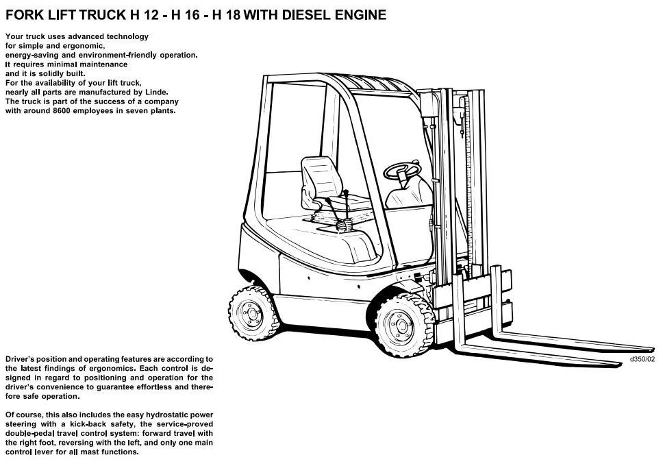 Linde Diesel Forklift Truck 350 series: H12, H16, H18 Operating Manual (User Manual)