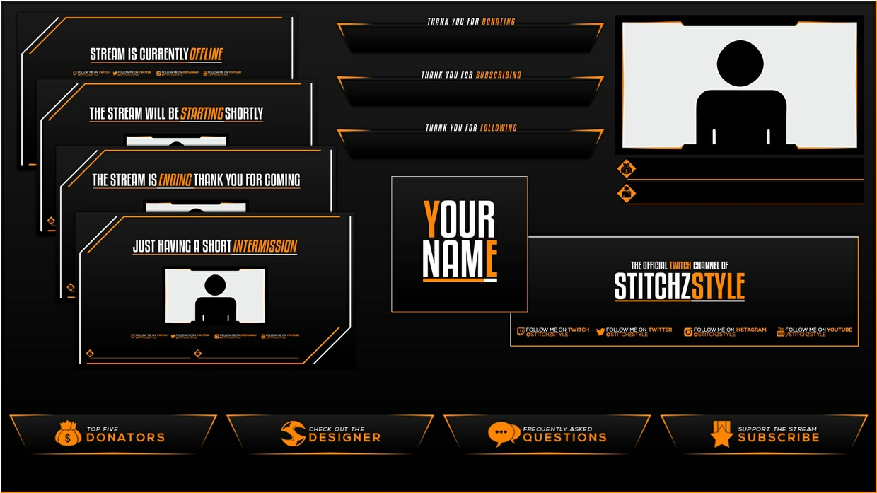 Black White and Orange Twitch Rebrand Template Pack