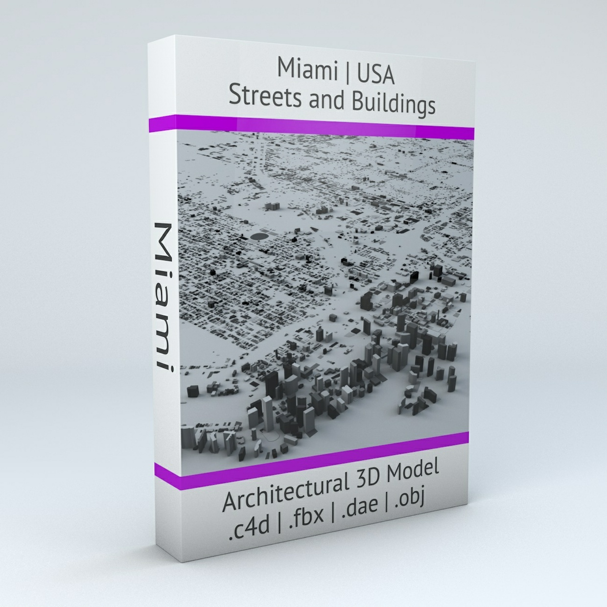 Miami Streets and Buildings Architectural 3D Model