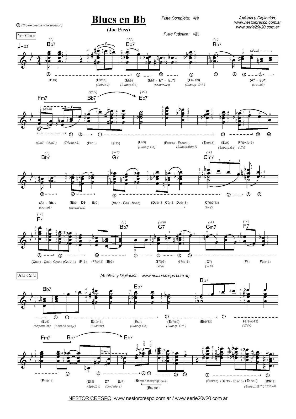 GUITARRA / Joe Pass  - Solo con acordes sobre Blues en Bb