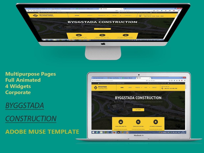 adobe muse templates free - byggstada construction adobe muse template