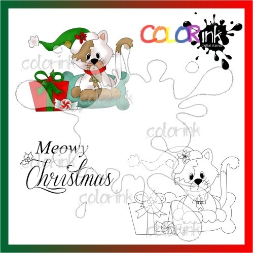 kittie gift and  sentiment Digi stamp
