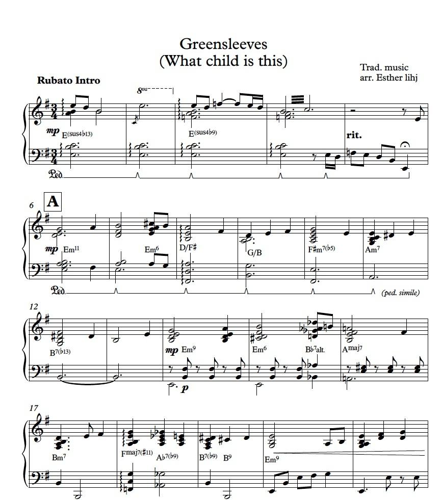 'Greensleeves' piano sheet music - Final Fantasy inspired