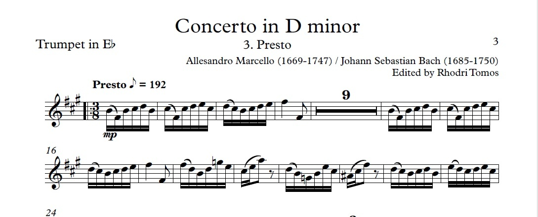 Marcello / Bach BWV974 Concerto In D Minor. Accompaniment Mp3 & Pdf Trumpet Solo Sheet Music.