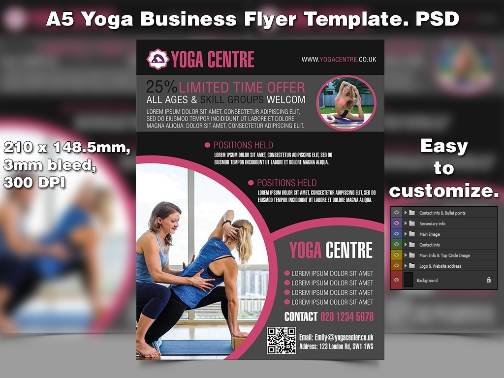 A5 Yoga Business PSD Flyer Template 5