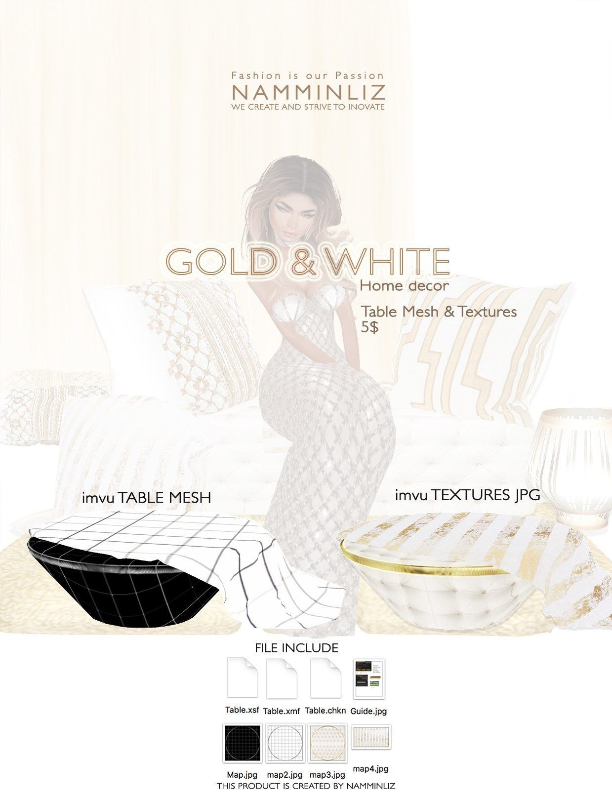 Gold & White imvu Table mesh & texture JPG, XSF, XMF, CHKN files
