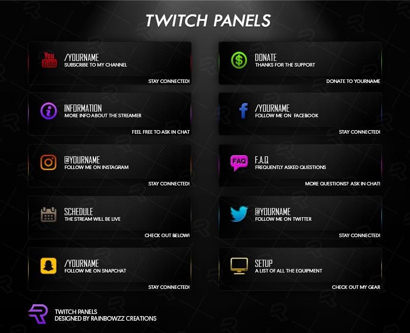 Twitch Panels Rainbow Colors