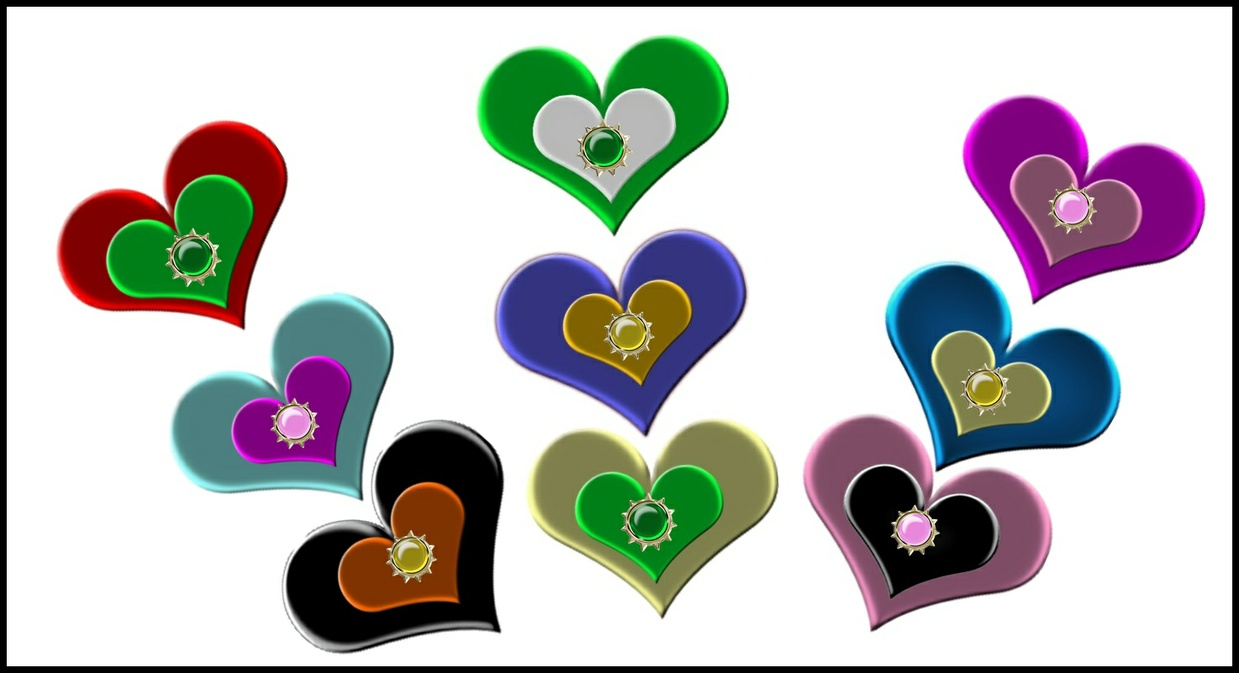 Png Satin Glow Hearts & Spike Gems