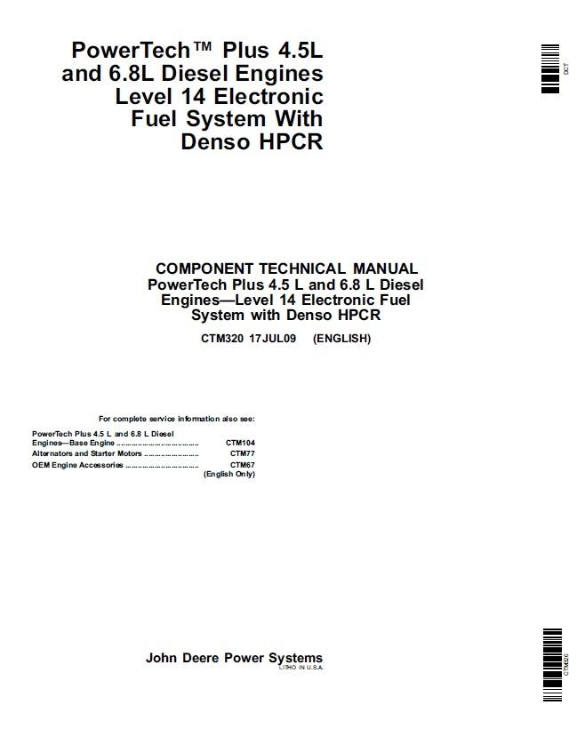 John Deere PowerTech Plus 4.5L and 6.8L Diesel Engines Service Technical Manual  CTM320