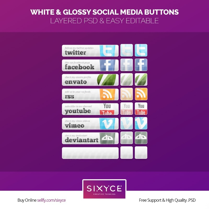 White & Glossy Social Media Buttons