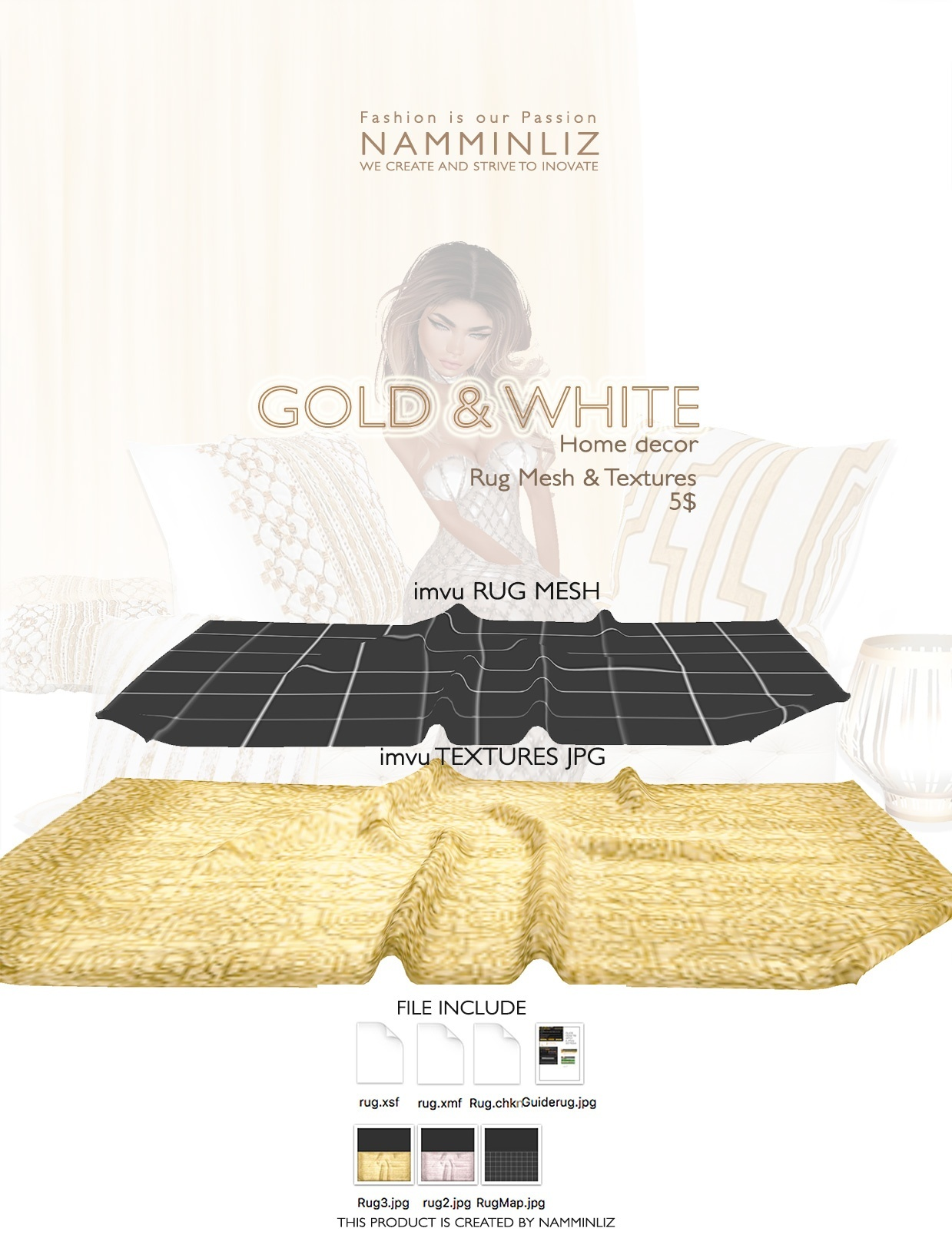 Gold & White imvu Full mesh & texture JPG, XSF, XMF, CHKN files