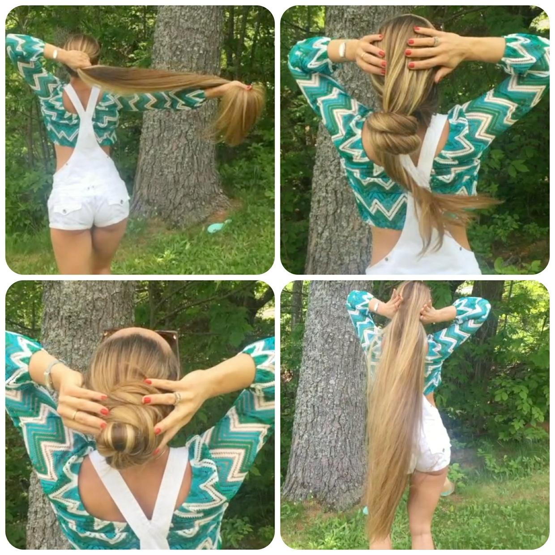 VIDEO - Blonde Rapunzel outside
