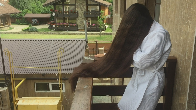 Mila Ivanova - Super Thick Hair Play in Balcony