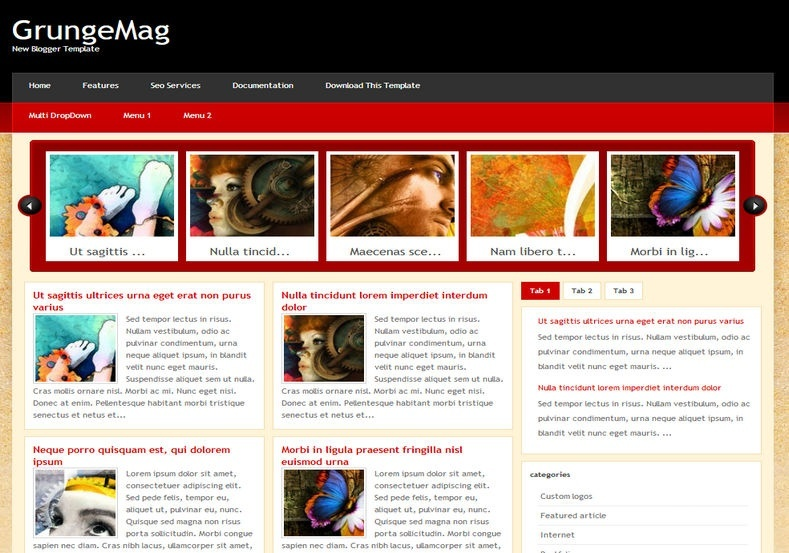 GrungeMag Blogger Template Premium Version