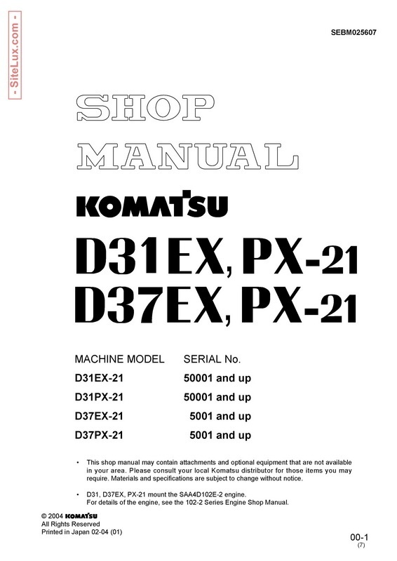 Komatsu D31EX-21, D31PX-21, D37EX-21, D37PX-21 Bulldozer Shop Manual - SEBM025607