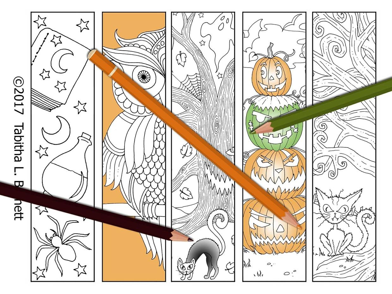 Halloween Coloring Bookmarks JPG Set 2