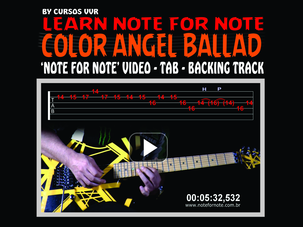 """MELODIC GUITAR SOLO BALLAD - """"COLOR ANGEL""""  - NOTE FOR NOTE VIDEO+BACKING TRACK+TAB"""