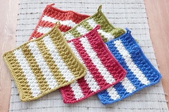 Crochet Striped Dish Mats