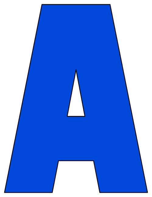 8X10.5  Inch Royal Blue Printable Letters A-Z, 0-9